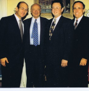 L-R: Jerusalem Mayor Ehud Olmert, Ed Koch, Abe Biderman and Rudy Giuliani.