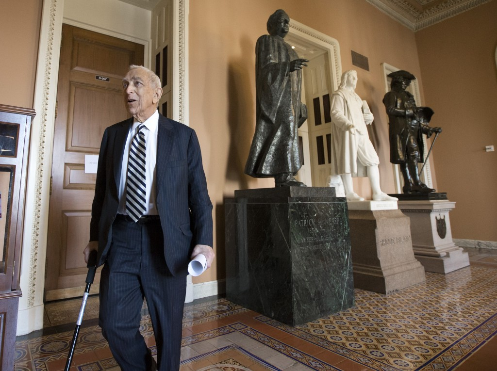Sen. Frank Lautenberg (D-N.J.) walks to the Senate floor from a Democratic caucus meeting on Capitol Hill in Washington, Thursday, Feb. 14, 2013. Lautenberg, 89, has decided not to seek re-election.
