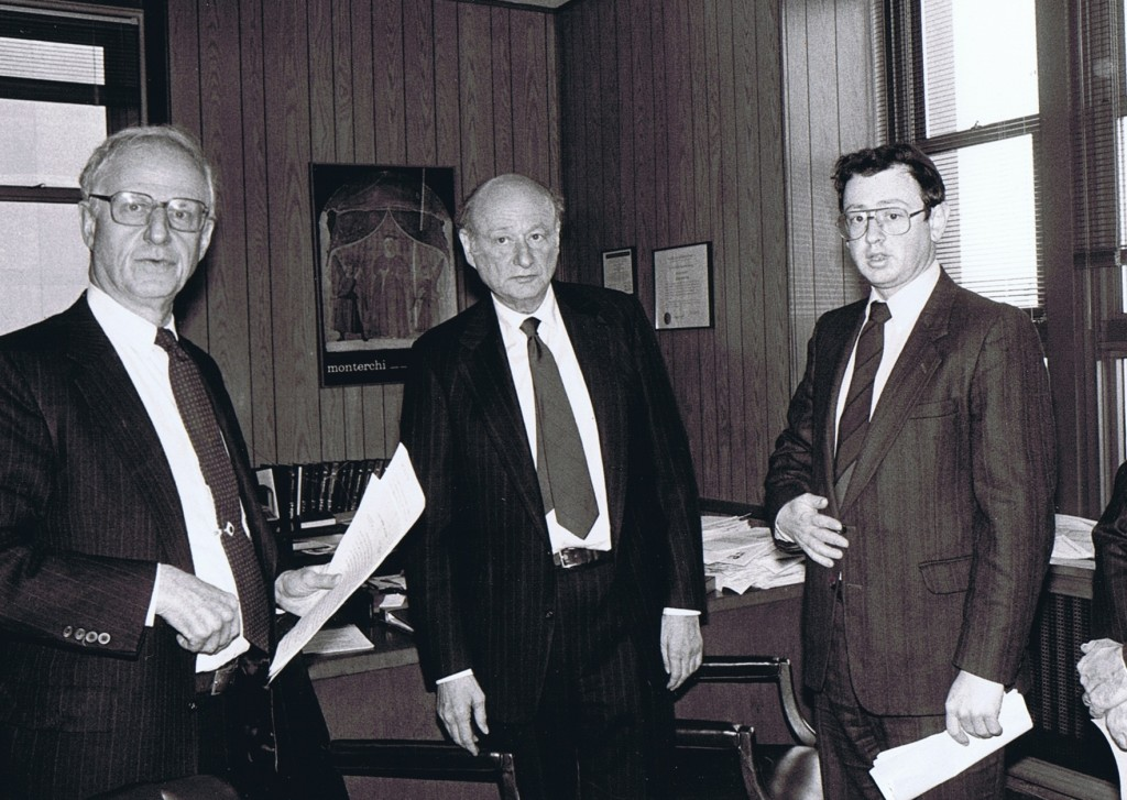 "L-R: Manhattan DA Bob Morgenthau, Ed Koch and, ybl""c, Abe Biderman."