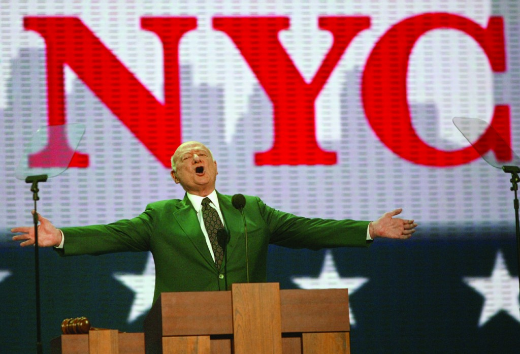 In this Aug. 30, 2004, file photo, former New York Mayor Ed Koch speaks at the first day of the Republican National Convention in New York. (AP Photo/Joe Cavaretta, File)