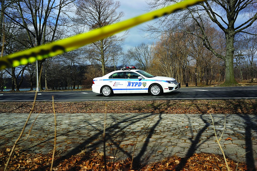 A police car patrols Prospect Park in Brooklyn. In newly released statistics, New York's largest parks witnessed a 7-percent rise in crimes committed in 2012. The new numbers, which are at odds with a general citywide drop in crime in 2012, were in comparison to the previous year. (Spencer Platt/Getty Images)