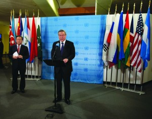 South Korea's Foreign Minister Kim Sung-hwan speaks at a news conference after the U.N. Security Council held an emergency meeting on North Korea's nuclear test on Tuesday morning. at U.N. headquarters. Left is South Korean Ambassador Kim Sook. (AP Photo/Craig Ruttle)