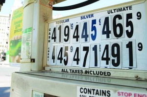 Fuel prices are displayed at a gas station in New York, yesterday. (REUTERS/Keith Bedford)