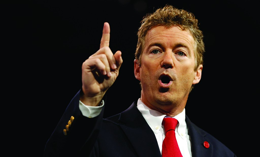 Senator Rand Paul (R-KY) gestures at the Conservative Political Action Conference (CPAC) at National Harbor, Maryland, in this photo from last weekend. (REUTERS/Kevin Lamarque)