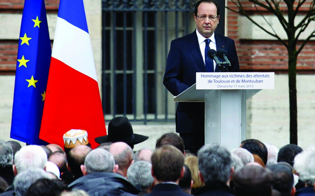 French President Francois Hollande delivers a speech on Sunday during a memorial ceremony to pay tribute to the Jewish victims of 23-year-old gunman Mohamed Merah in Toulouse. (REUTERS/Regis Duvignau)