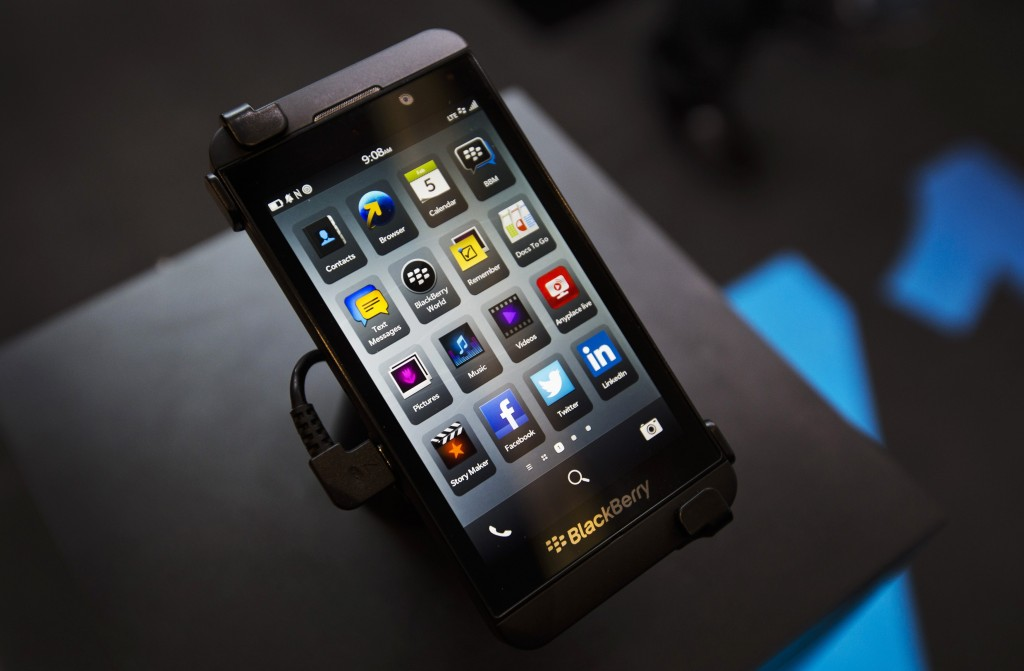 A Blackberry Z10 is displayed at a store in Toronto. (REUTERS/Mark Blinch/Files)