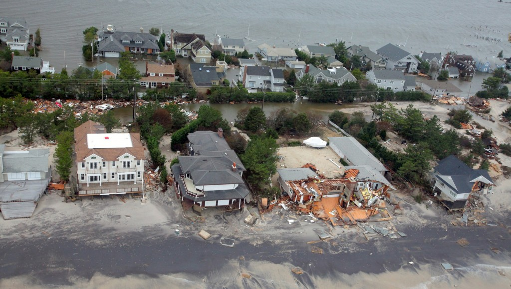 This Oct. 30, 2012 file photo provided by the U.S. Air Force shows an aerial view of damage to the New Jersey shoreline following Superstorm Sandy. (AP Photo/U.S. Air Force, Master Sgt. Mark C. Olsen, File)
