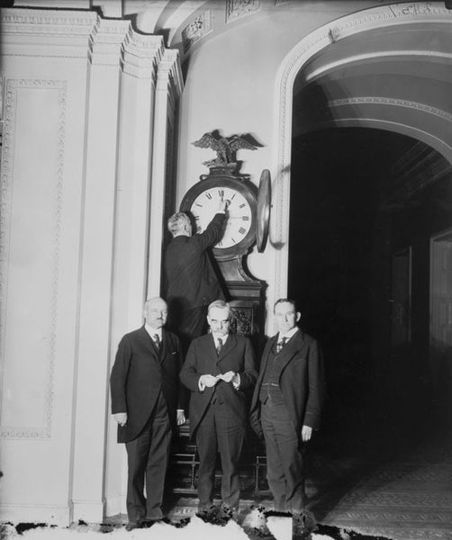 The Ohio Clock in the U.S. Capitol being turned forward for the country's first daylight saving time, in 1918.