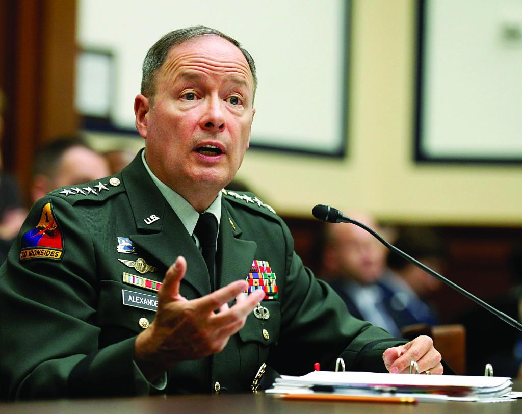 Army Gen. Keith B. Alexander, commander of the U.S. Cyber Command, testifies on Capitol Hill in Washington. (AP Photo/Manuel Balce Ceneta)
