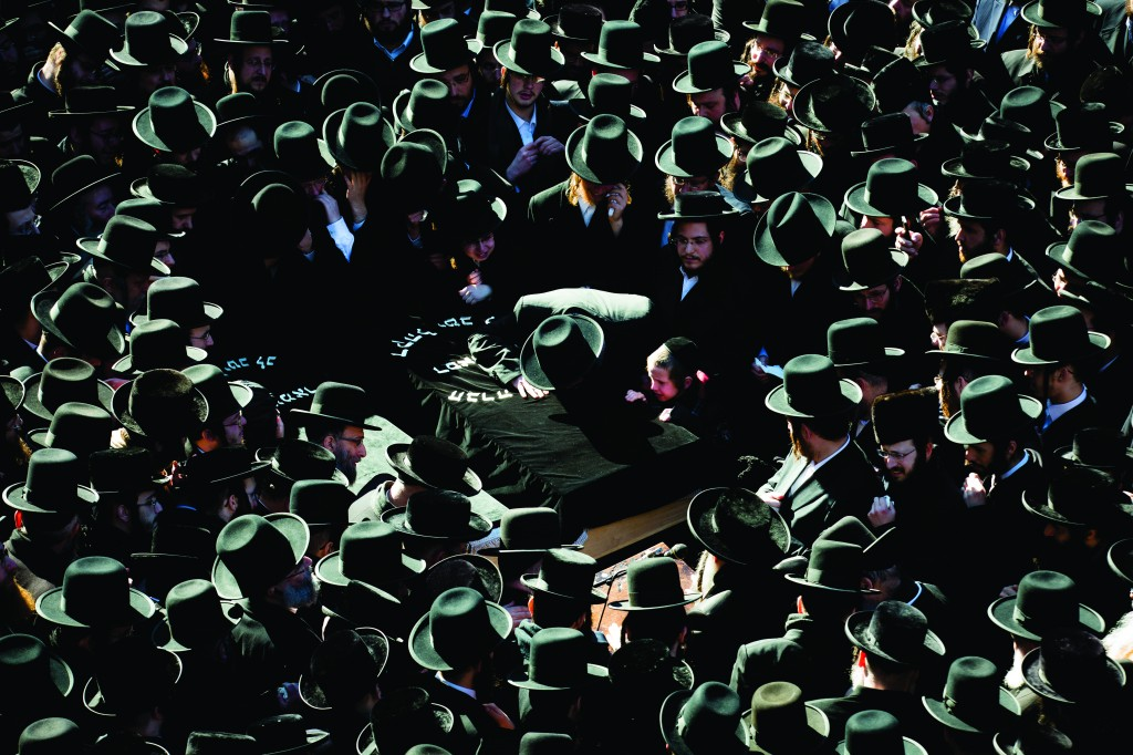 """At the heartbreaking levayah of Reb Nachman and Mrs. Raizy Glauber, both 21, z""""l,  in front of the Satmar shul on Rodney Street in Williamsburg. (PAP Photo/John Minchillo)"""