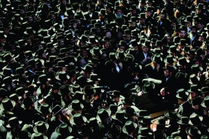 At the levayah in front of the Satmar shul on Rodney Street in Williamsburg. (AP Photo/John Minchillo)