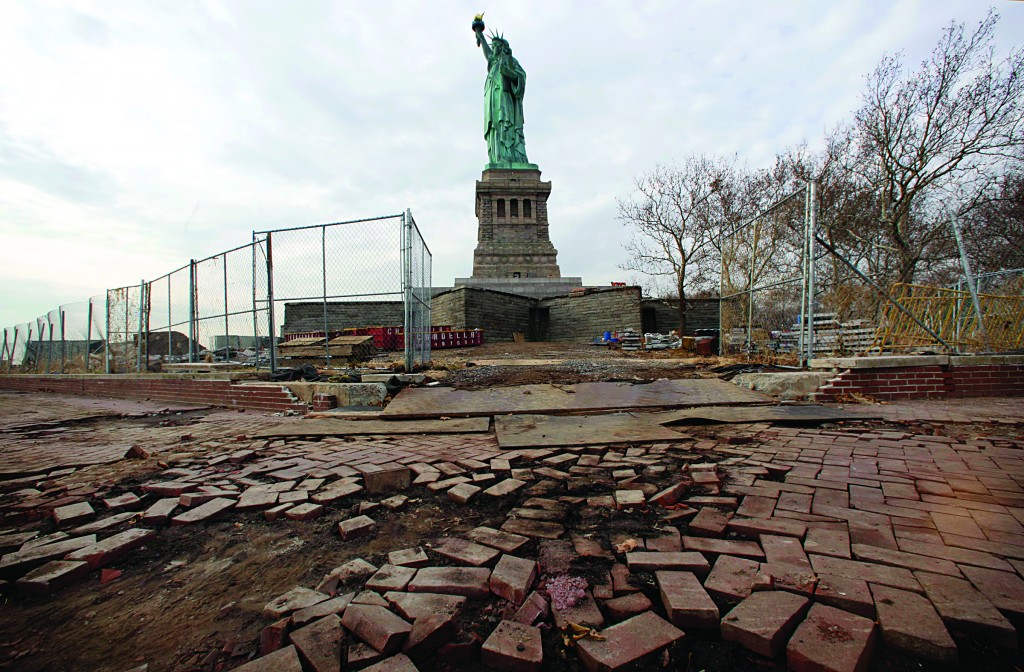 Parts of the brick walkway of Liberty Island that were damaged in Superstorm Sandy are shown during a tour of Liberty Island. (AP Photo/Richard Drew)