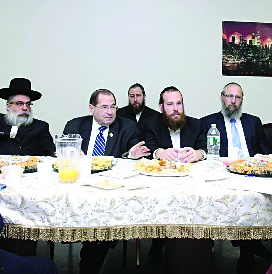 Rabbi Yaakov Bleich, Chief Rabbi of Ukraine, Rep. Jerrold Nadler (D-N.Y.), Ezra Friedlander (seated in back), Yidel Perlstein, chairman CB12, and Rabbi Yeruchim Silber, executive director of the BPJCC, met on Sunday in Boro Park about topics related to the community.