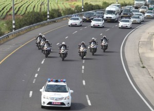 Motorcycles that will be escorting President Barack Obama during his visit to Israel seen here practicing the special formation in which they must drive. (Flash90)