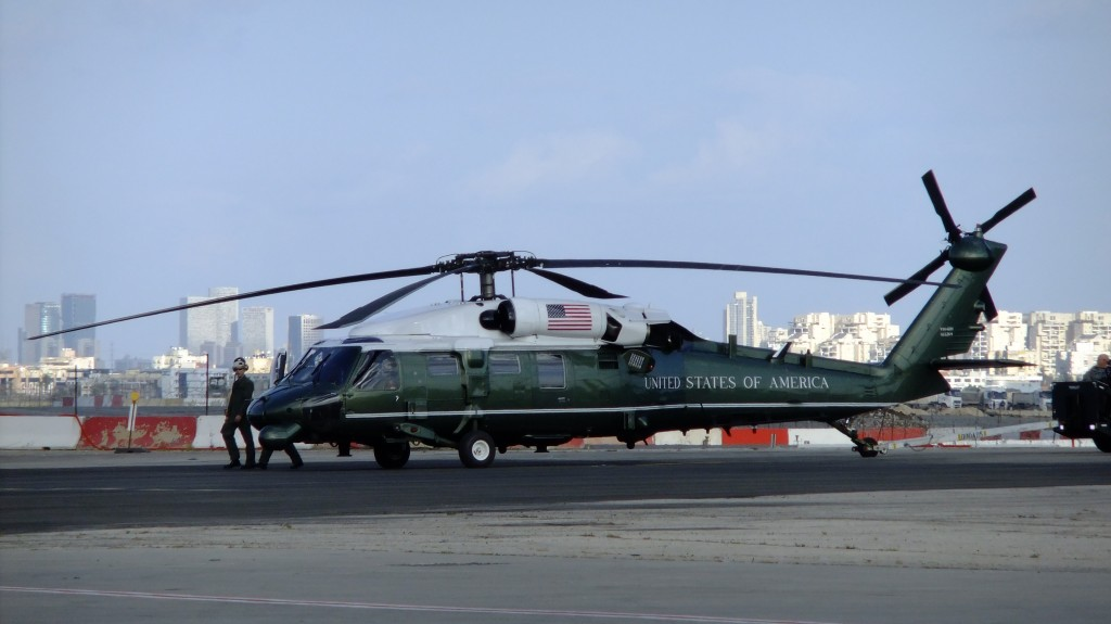 One of the UH-60 'BlackHawk' helicopters in President Obama's fleet,  already deployed to Israel and parked at Ben Gurion International Airport  in preparation for his arrival on Wednesday. (Flash90)