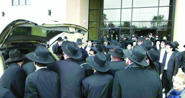 At Rebbetzin Ruchoma Shain's levayah in Lakewood on Sunday. (The Lakewood Scoop)