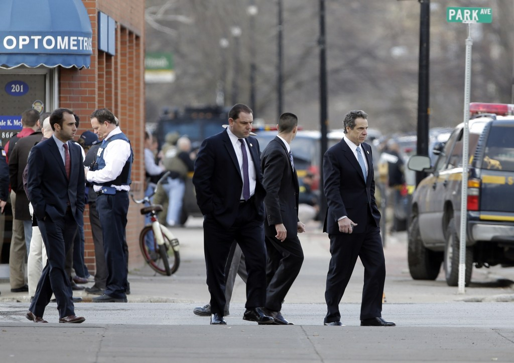 Gov. Andrew Cuomo on Wednesday at the scene of the shooting in Herkimer. (AP Photo/Mike Groll)