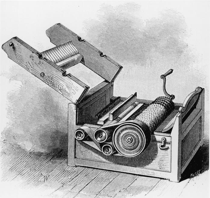 The cotton gin (short for cotton engine) was a machine for getting seeds out of cotton. Before the seeds had to be picked by hand.
