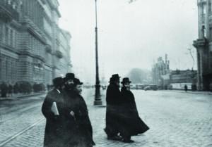 """Harav Avraham Yeshoshua Heschel, the Kopycznitzer Rebbe, zy""""a, (third from left) in Vienna."""