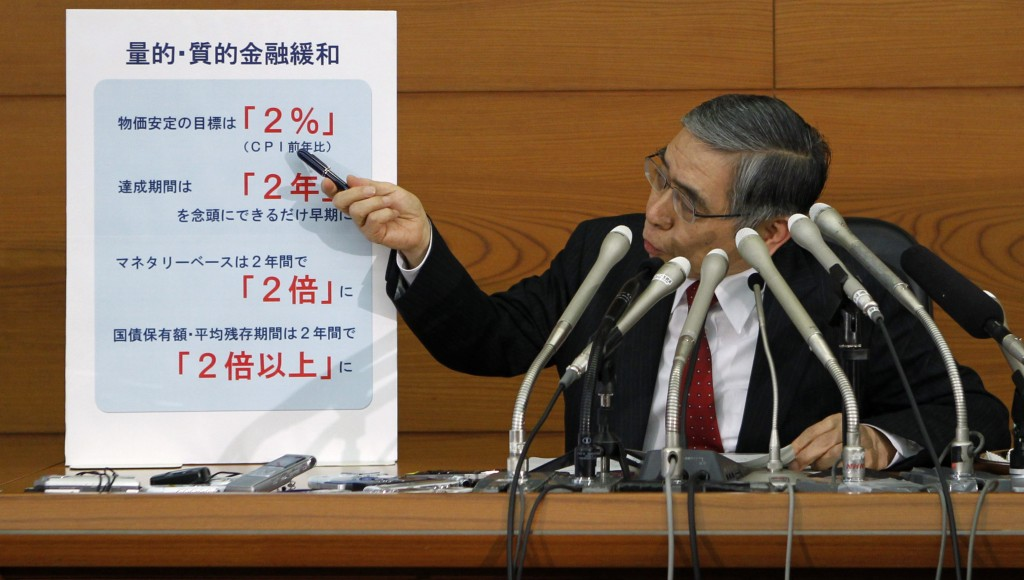 Bank of Japan Governor Haruhiko Kuroda points at a chart projecting his quantitative and qualitative monetary easing plans during a news conference after his first monetary policy meeting as BOJ governor in Tokyo, Thursday. (REUTERS/Yuya Shino)