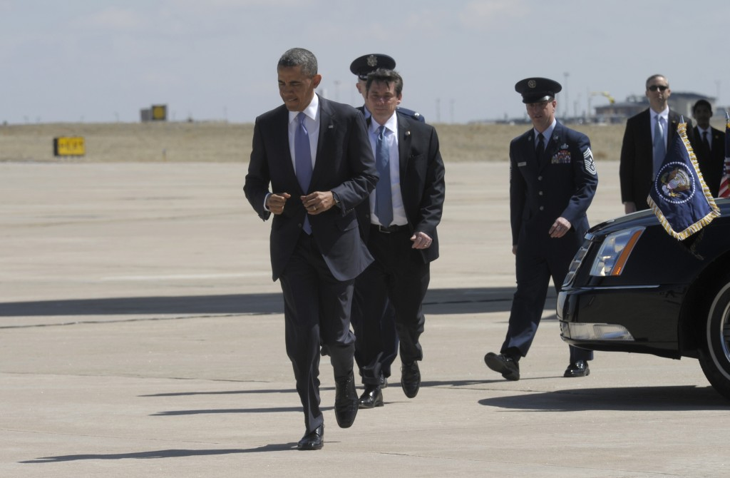 President Barack Obama after arriving at Buckley Air Force Base in Colorado, Wednesday. (AP Photo/Susan Walsh)