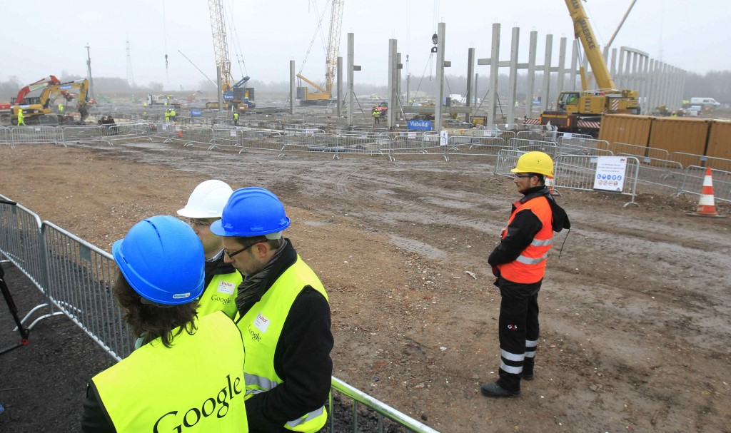 Visitors look at a work site while visiting a Google Data center in St. Ghislain Wednesday. (REUTERS/Yves Herman)