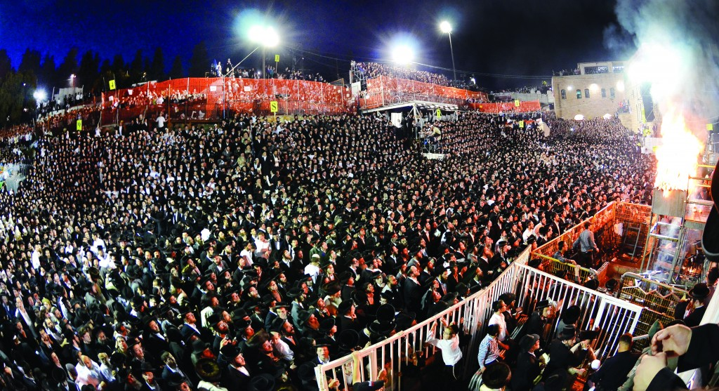 A partial view of the massive crowd present at the tziyun of Rabi Shimon Bar Yochai in Meron on Lag BaOmer, late Sunday afternoon.