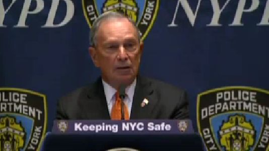 New York Mayor Michael Bloomberg speaks at 1 Police Plaza on Tuesday, pushing back against calls for greater NYPD oversight. (New York City's Mayor's office)