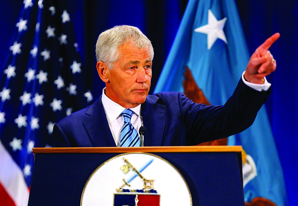 U.S. Secretary of Defense Chuck Hagel gives a speech at Ft. McNair in Washington Wednesday. (REUTERS/Gary Cameron)