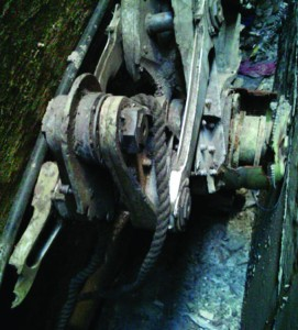 A piece of landing gear that authorities believe belongs to one of the airliners that crashed into the World Trade Center on Sept. 11, 2001, was found wedged between a mosque and another building.