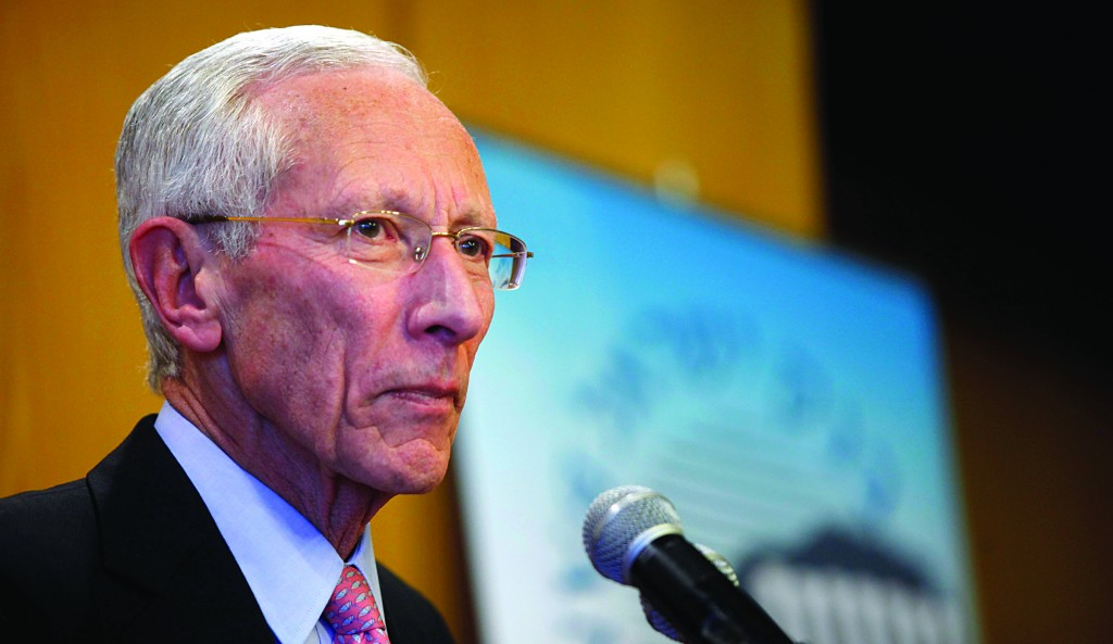 Bank of Israel Governor Stanley Fischer speaks during a press conference recently in which he urged the passage of a law establishing a sovereign wealth fund for tax income from the country's natural gas fields to prevent appreciation in the shekel. (GettyImages)