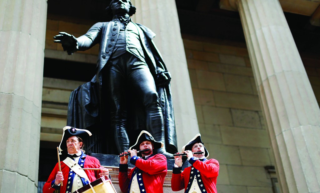 Re-enactors of the American Revolutionary War on Tuesday commemorate the swearing-in of former President George Washington at Federal Hall on Wall Street in New York City on April 30, 1789. (Reuters/Brendan McDermid)
