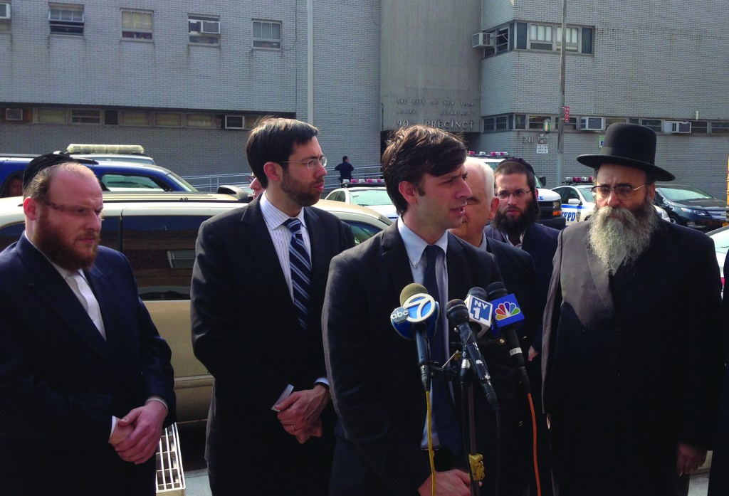 L-R: Mr. Yanky Itzkowitz, Coordinator Williamsburg Shomrim; State Senator Daniel Squadron (D-NY); Councilman Stephen Levin (D-NY); Rabbi Moishe Dovid Niederman of UJO, at a press conference in front of the 90th Precinct of the NYPD, regarding the mezuzah burning. (JDN)
