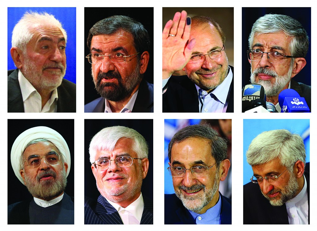 This combination of eight pictures shows eight candidates approved Tuesday, May 21, 2013 for Iran's June 14 presidential election to replace Mahmoud Ahmadinejad, who cannot run again because of term limits, clockwise from left: Mohammad Gharazi, Mohsen Rezaei, Mohammad Bagher Qalibaf, Gholam Ali Haddad Adel, Saeed Jalili, Ali Akbar Velayati, and Hasan Rowhani, taken between May 9 and May 11, 2013. (AP Photo)