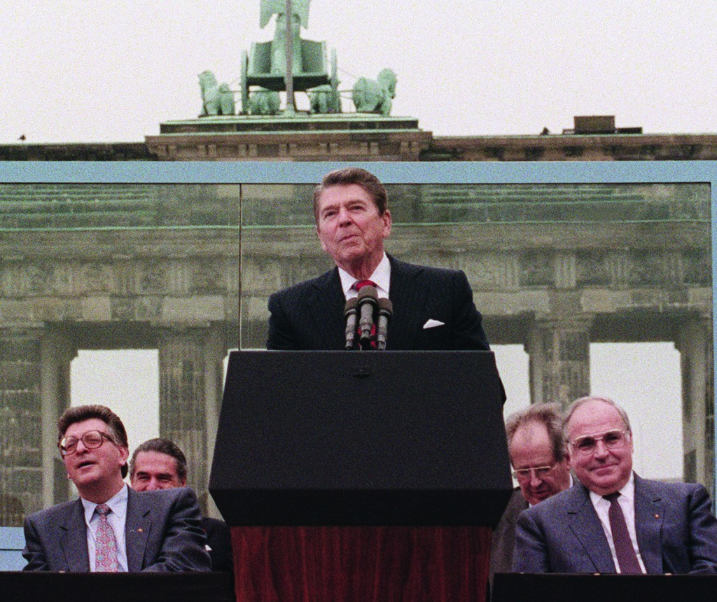 "President Reagan, commemorating the 750th anniversary of Berlin, addresses on June 12, 1987 the people of West Berlin at the base of the Brandenburg Gate, near the Berlin wall. ""Tear down this wall!"" was the famous command from President Reagan to Soviet leader Gorbachev to destroy the Berlin Wall.(MIKE SARGENT/AFP/Getty Images)"