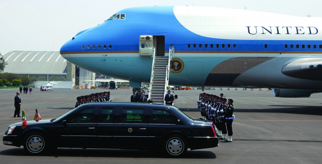 A vehicle arrives to pick up President Barack Obama after he landed at Benito Juarez International Airport in Mexico City, Thursday. (AP Photo/Eduardo Verdugo)