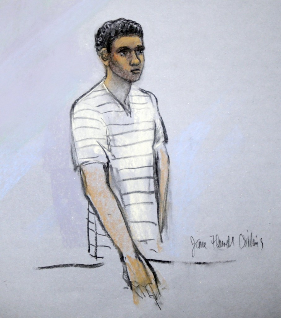 This courtroom sketch shows defendant Robel Phillipos appearing in front of Federal Magistrate Marianne Bowler at the Moakley Federal Courthouse in Boston, Mass (AP Photo/Jane Flavell Collins)