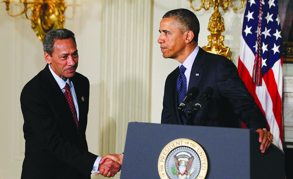 President Obama announces Democratic Representative Mel Watt (L) as his nominee for director of the Federal Housing Finance Agency at the State Dining Room of the White House in Washington, Wednesday. (REUTERS/Jason Reed)