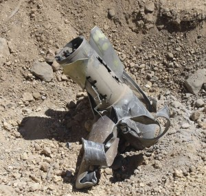 A view shows the remains of a rocket, which residents say was recently fired into the mainly Shi'ite town of Hermel, Tuesday. (REUTERS/Rami Bleibel)