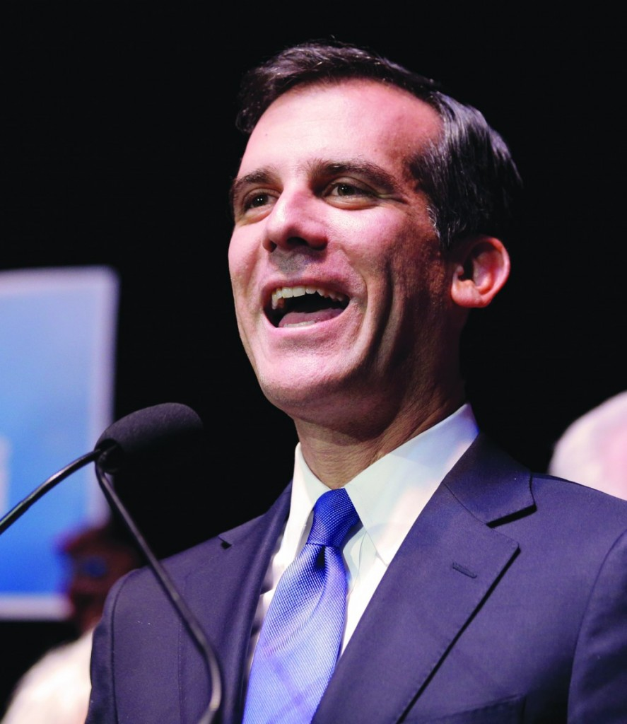 Los Angeles Mayoral candidate Eric Garcetti speaks during a election night rally on Tuesday, in the Hollywood area Los Angels.( AP Photo/Chris Carlson)