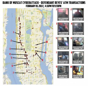 "Ten photos of a man identified as ""defendant Reyes"" next to a map of Manhattan indicating the locations of the looted machines. (AP Photo/U.S. Attorney's Office)"