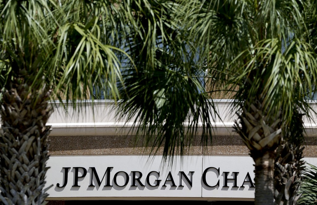 The front of one of the JPMorgan Chase & Co. buildings is shown during the annual meeting Tuesday, in Tampa, Fla. (AP Photo/Chris O'Meara)