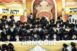 At the Kabbalas Panim. L-R: the Slonimer Rebbe, shlita; Harav Elchanan Halpern, shlita, Radomishl Rav, and Rav in Golders Green, London, great-grandfather of the chassan; the chassan; the Belzer Rebbe, shlita; the Vizhnitzer Rebbe, Harav Yisrael Hager, shlita; the Vizhnitzer Rebbe, Harav Menachem Mendel Hager, shlita; Harav Aharon Mordechai Rokeach, father of the chassan, shlita; Harav Menachem Erenster, shlita, Rosh Yeshivah, Vizhnitz.(Anshi Beck, Shuki Lerer/JDN)