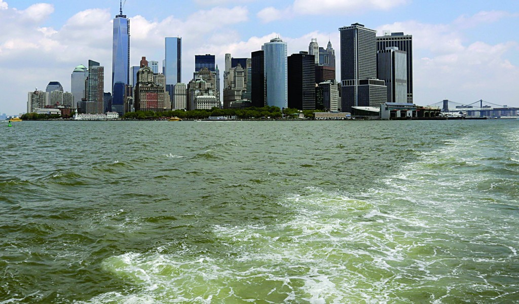 Lower Manhattan is visible from the Staten Island Ferry Tuesday. (AP Photo/Richard Drew)