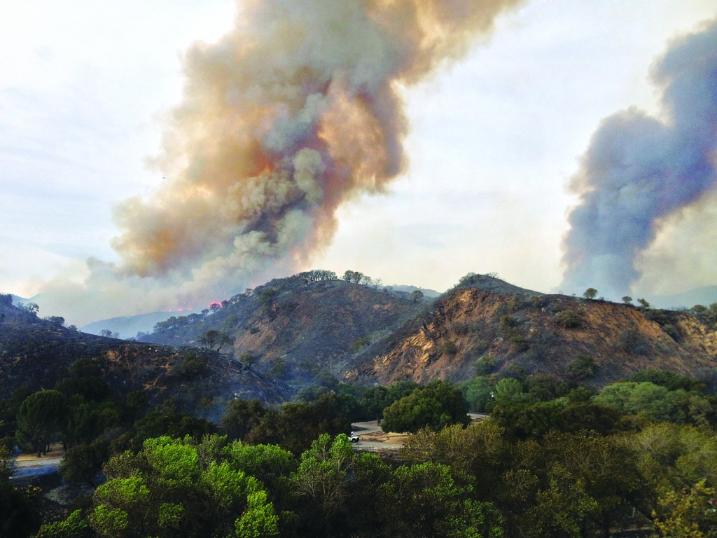 This photo released by the Santa Barbara County Search and Rescue was taken on Monday showing smoke from a wildfire burning along the mountains north of Santa Barbara, Calif. (AP Photo/Valerie Walston, Santa Barbara County Search and Rescue)