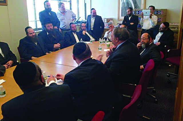 Republican mayoral hopeful John Catsimatidis in a meeting Tuesday with members of the Orthodox Jewish community. He said he would allow bris milah to continue as it has for thousands of years and said he strongly believes that the city should provide some sort of tuition relief to private school parents.
