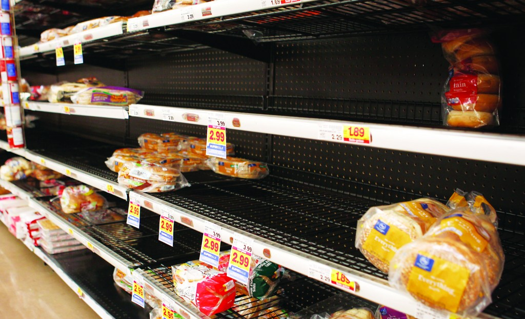 Bread supply is low at a grocery store after people prepared for an ice storm in Lilburn outside Atlanta, Georgia, earlier this week. (REUTERS/Tami Chappell)
