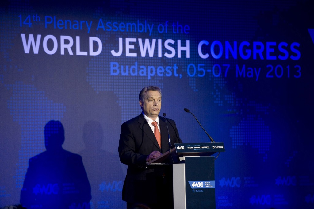Hungarian Prime Minister Viktor Orban delivers his speech during the opening dinner of the World Jewish Congress in Budapest, Hungary, Sunday.(AP Photo/MTI, Szilard Koszticsak)