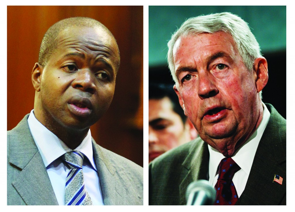 Kenneth Thompson, left, and Brooklyn DA Charles Hynes. (AP Photo/Seth Wenig and Louis Lanzano)
