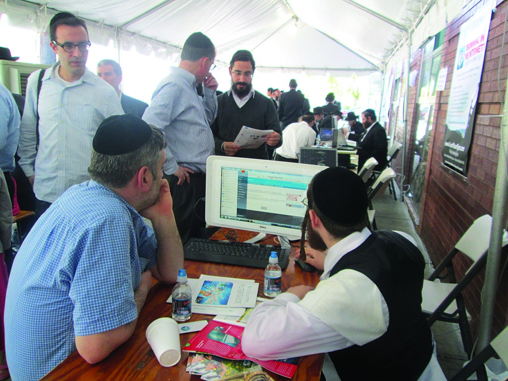 "At the Flatbush ""Filterthon"" in front of Rabbi Landau's shul all day Sunday. (Venishmartem)"